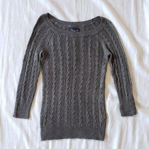 American Eagle | 3/4 Sleeve Cable-Knit Sweater
